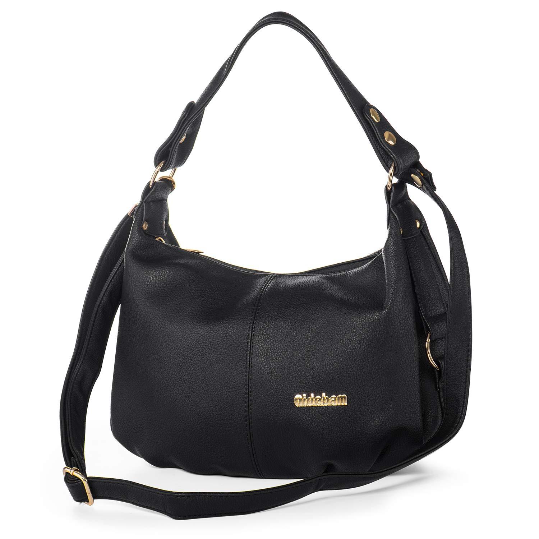 Shoulder Handbag for Women PU Leather Hobo Crossbody Purse Top Handle Bag Black + Katloo Nail Clipper