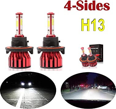 5yr Warranty H4 LED Headlight Bulbs 4-Side Chips Hi//Low Conversion Kit 6000K Cool White 360 Degree Adjustable Beam 12000LM Super Bright