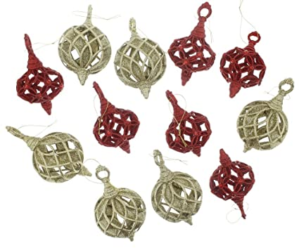 12 pack red gold christmas ornaments set festive sparkling elegant holiday glitter ornaments with