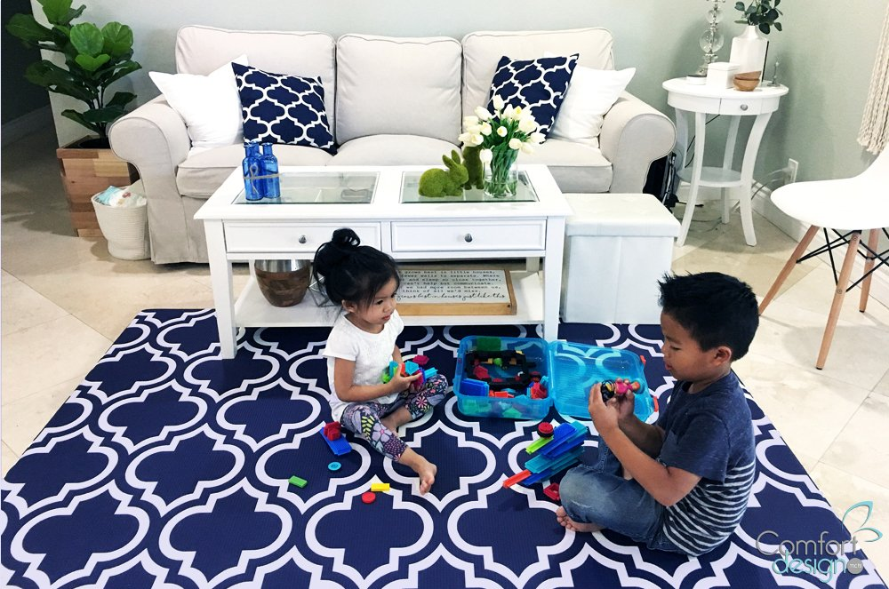 Premium Stylish Foam Floor Mat | Cushy-Soft & Thick | Waterproof, Easy-to-Clean, Hypoallergenic, Non-Toxic, Pet-Friendly, Portable | Baby Play Mat, Yoga Mat, Exercise Mat - Large Grey Botanical Garden Comfort Design Mats