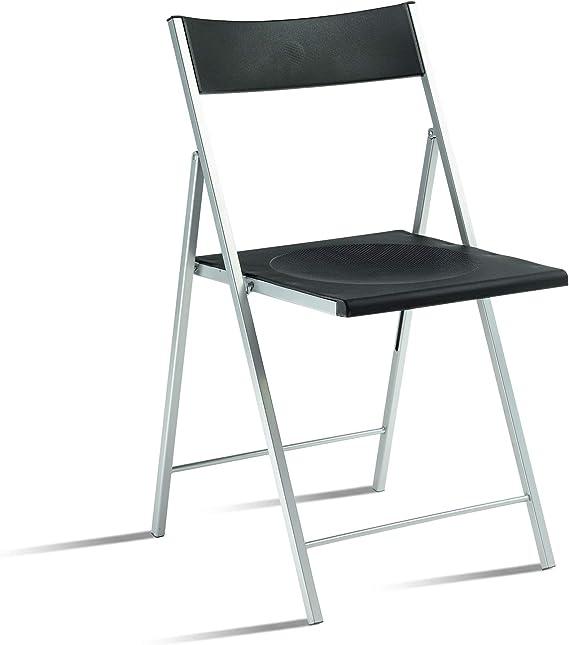Eurosilla SLIMANEG-1 Slim-Silla plegable para salón, color negro ...