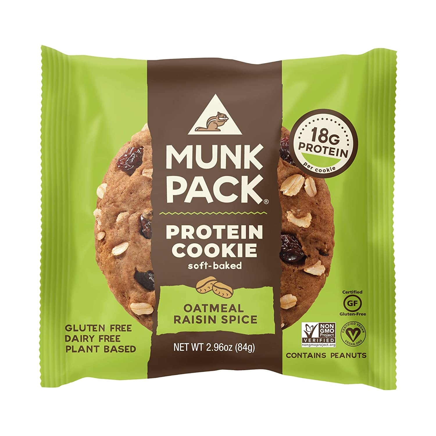 Munk Pack Oatmeal Raisin Spice Protein Cookie with 18 Grams of Protein | Soft Baked | Vegan | Gluten, Dairy and Soy Free | 12 Pack