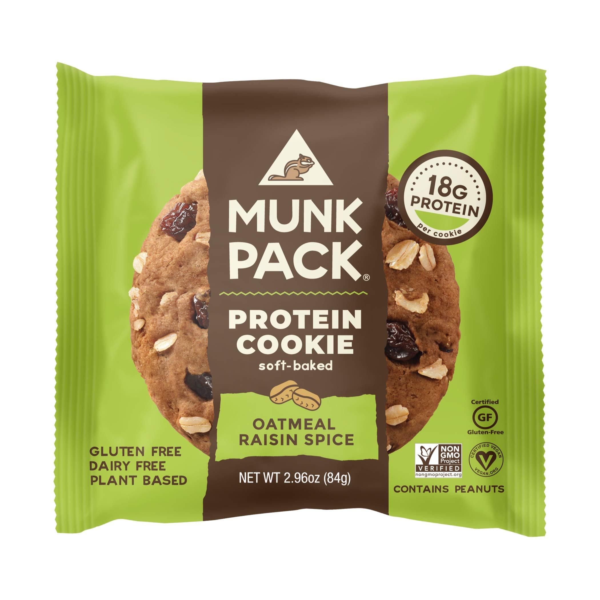 Munk Pack Oatmeal Raisin Spice Protein Cookie with 18 Grams of Protein | Soft Baked | Vegan | Gluten, Dairy and Soy Free | 12 Pack by Munk Pack