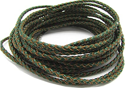 3.0mm Braided Leather Cord Round Braided Leather Cord Leather Working Cord String Cord 5Meter Green