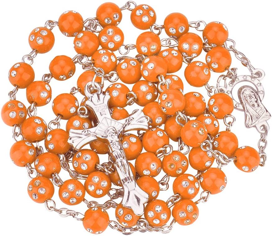 Necklace Opeof Women Catholic Jesus Cross Rhinestones Rosary Beads Pendant Necklace Jewelry Yellow