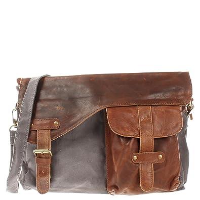 822c4253de493 LECONI Messenger Bag DIN A4 Leder Canvas Damen   Herren Schultasche Retro  look Collegetasche Umhängetasche 38x28x12cm