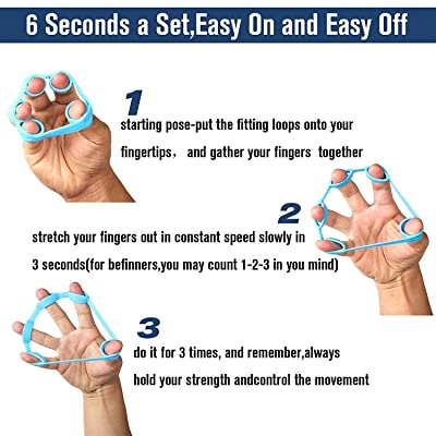 5Pcs//Set Hand Grip Strengthener Set Finger Exerciser Loop Ball Power Trainer