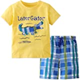 Gorboig Toddler Boy Clothes Little Boys Summer Outfits Short Sleeve Clothing Dinosaur T-Shirt & Shorts Sets 2-7T