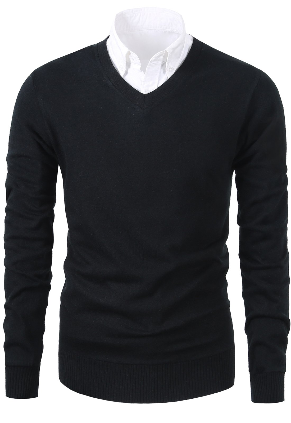Mesahara Mens Casual Slim Fit Knit V-Neck Pullover Sweater (M, Black)