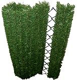 Haie Permanente 41 Brins Autobloquant d'Aspect Naturel / Artificielle haut de gamme du marché PVC Vert Foncé/Vert Clair/Marron 152 x 8 x 180 cm