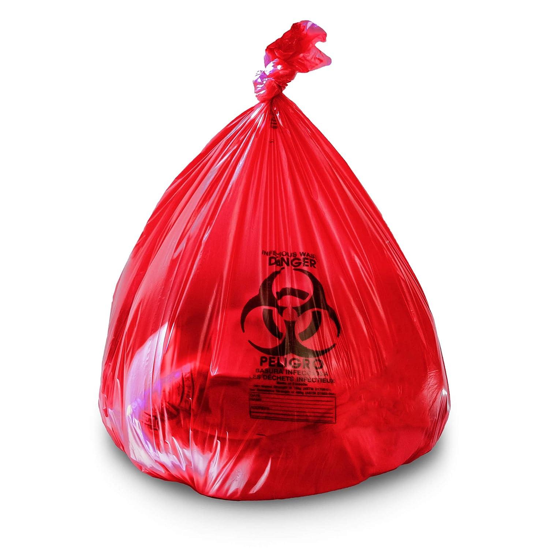 Bolsas de biopeligro, color rojo, 24 x 32 mm, 1,2 mil, 250 ...