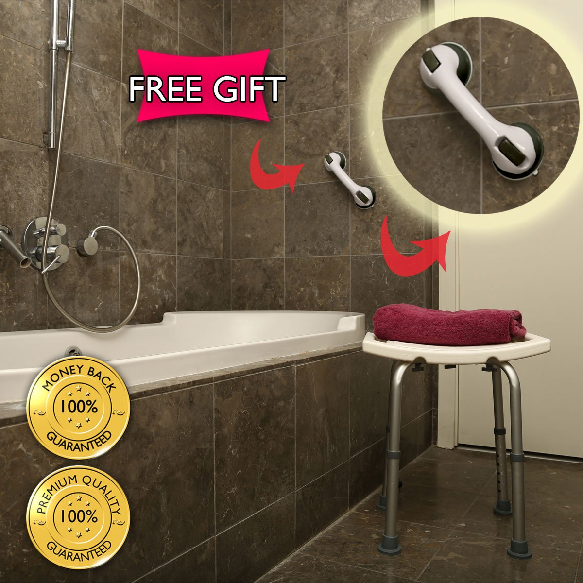 Dr. Maya Adjustable Bath and Shower Chair with Free Suction Assist ...