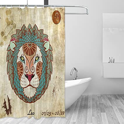 Franzibla Constellation Zodiac Sign Leo Shower Curtains 60 X 72 Inches Polyester Fabric Bathroom Curtain With