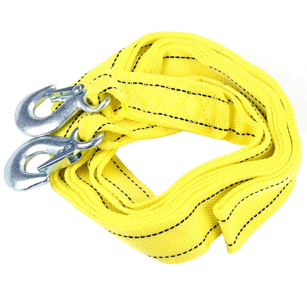 Gimiton Car Tow Cable Towing Strap Rope 6500lb Heavy Duty Polyester Tow Strap Rope 2 Hooks 2 Inch x 10 Ft