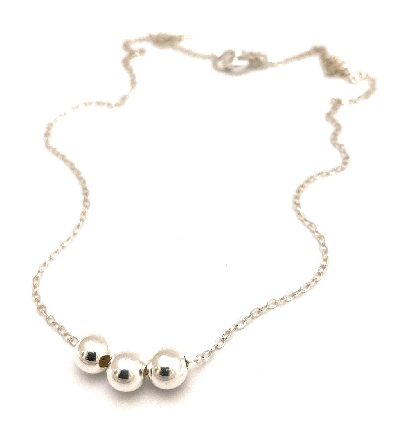Minimalist Necklace Sterling Silver Beads Silver Balls Necklace Silver Beads Necklace
