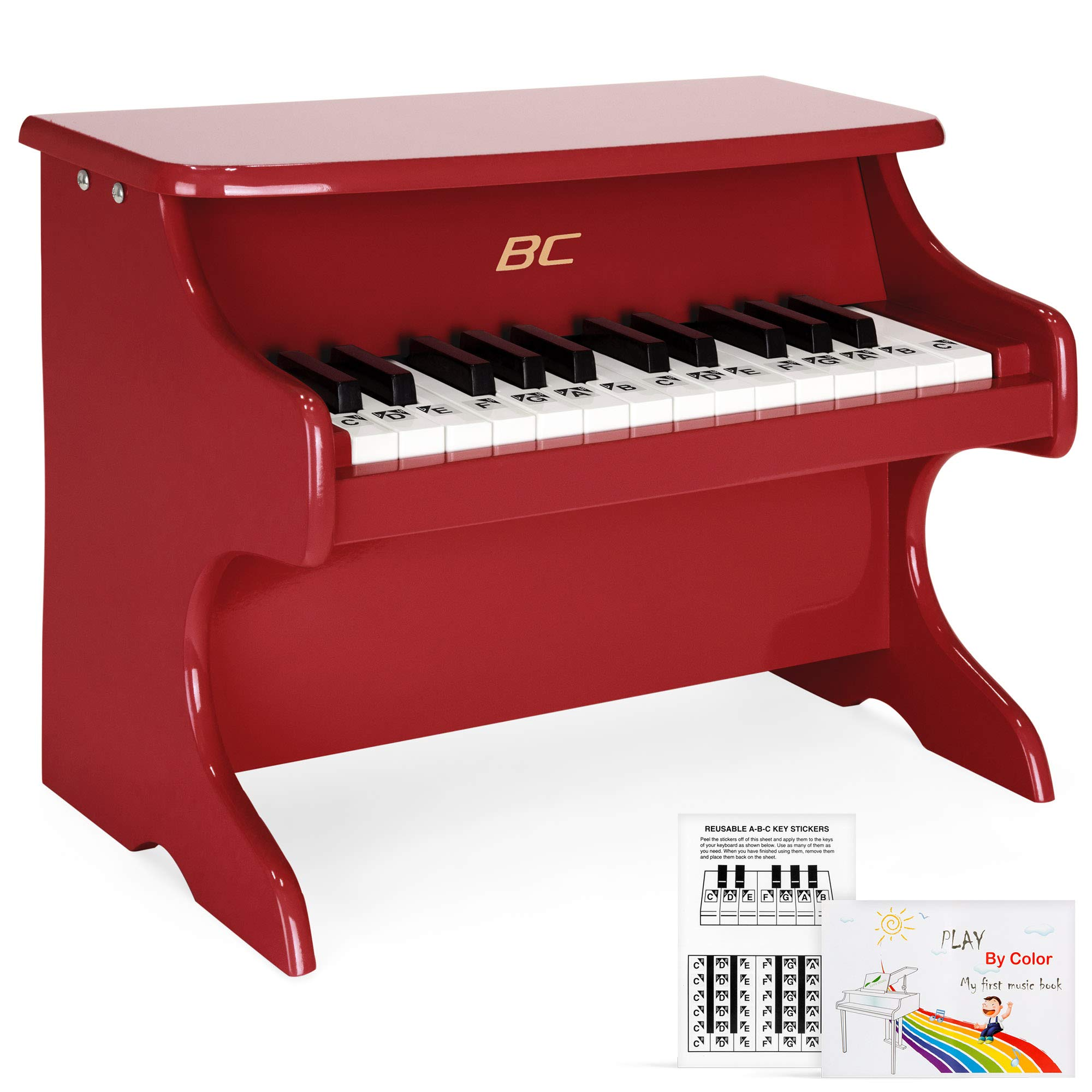 Best Choice Products Toddler Learn-to-Play Mini Piano with Key Note Stickers, Music Book, Red