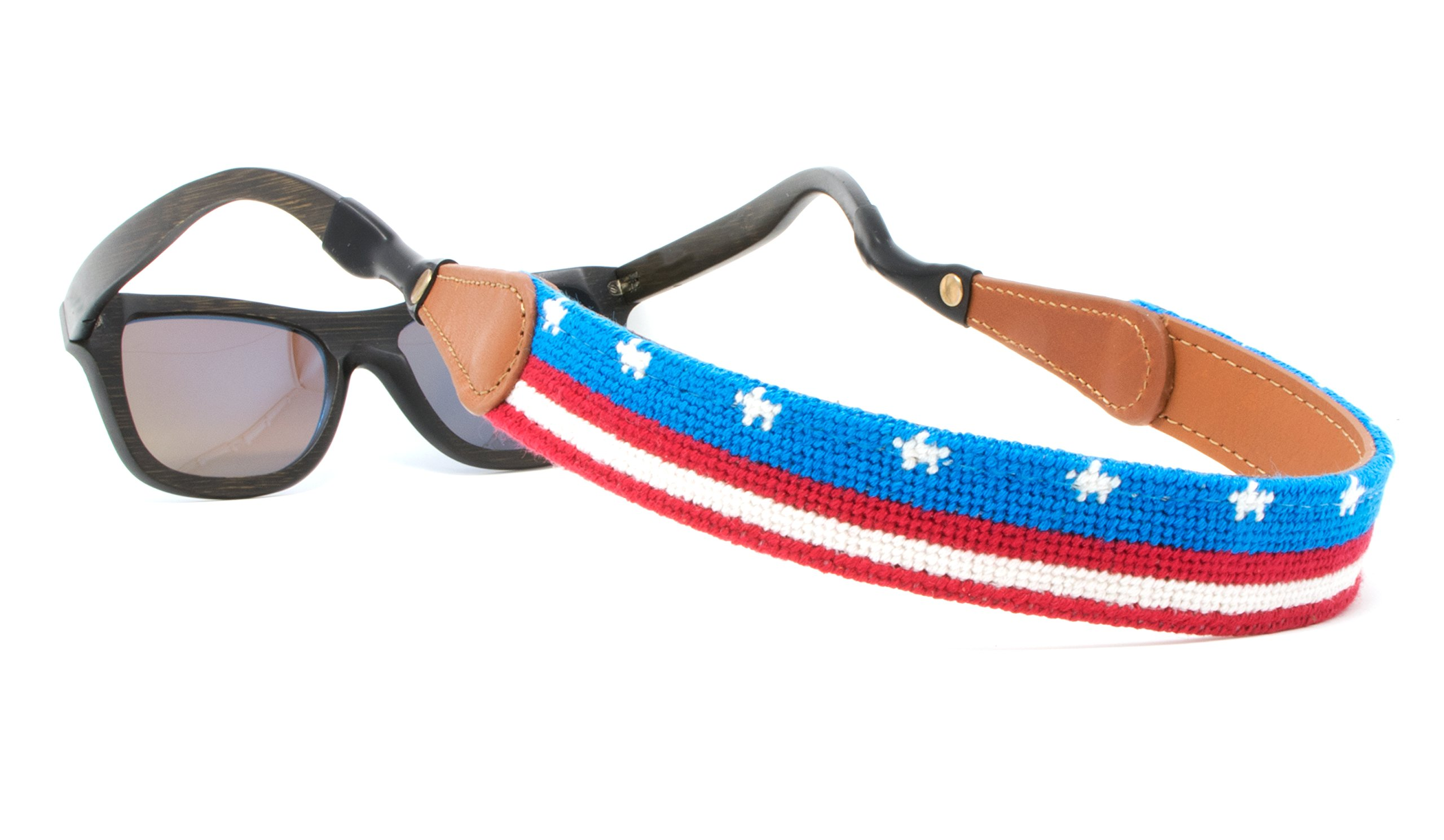 Needlepoint Sunglass Strap Sunglass Retainer by Huck Venture (USA Flag Banner)