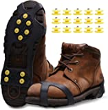 Ice Snow Grips, Anti Slip Winter Ice Grippers Snow Traction Cleats Crampon Spikers Ice Traction Slip on Boots Shoes Cover Fit for Hiking Fishing Climbing With 15-Pack Spare Snow Spikes