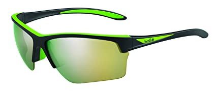 28518cd513 Image Unavailable. Image not available for. Color  Bolle Flash Sunglasses  Matte Black Green ...