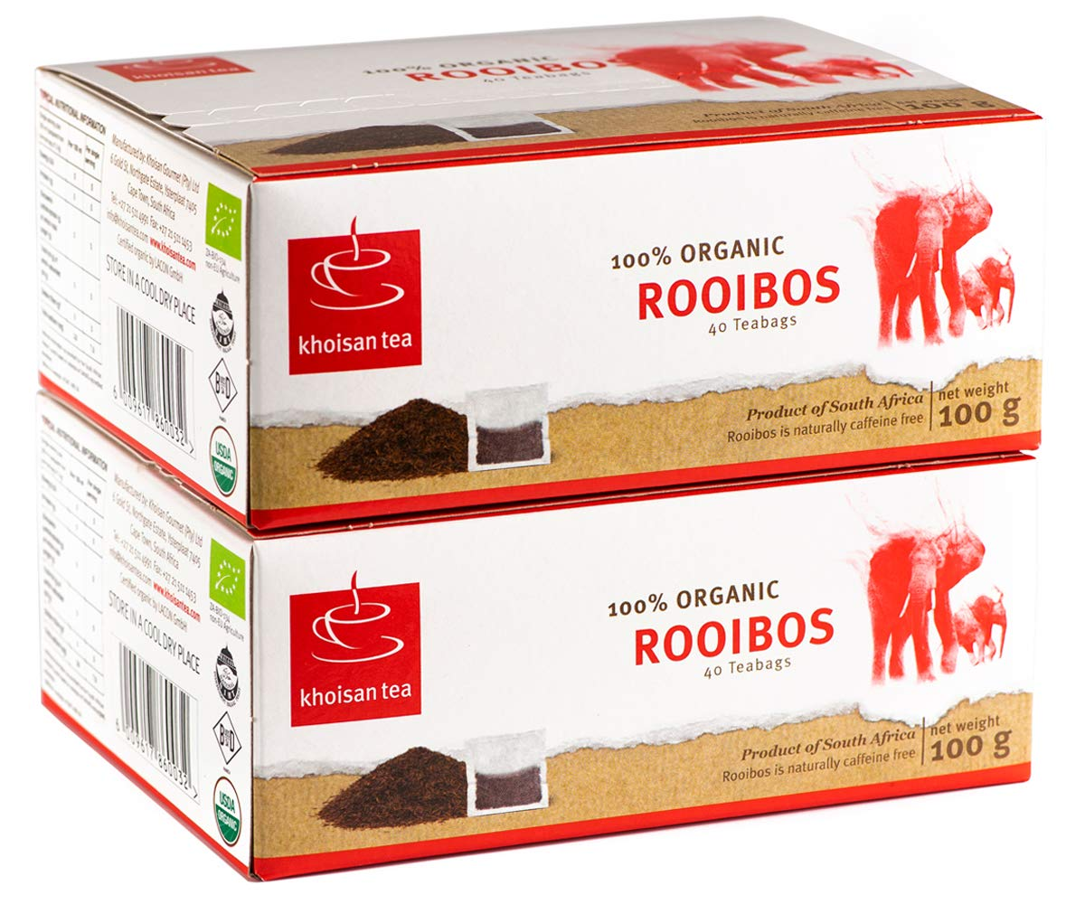 Red Rooibos Tea, USDA Certified Organic Tea, Khoisan Tea, Organic Rooibos Tea from South Africa, GMO Free and Naturally Caffeine Free Tea, Healthy Herbal Tea, 80 Teabags in total, Redbush Pure Rooibos by Khoisan Tea