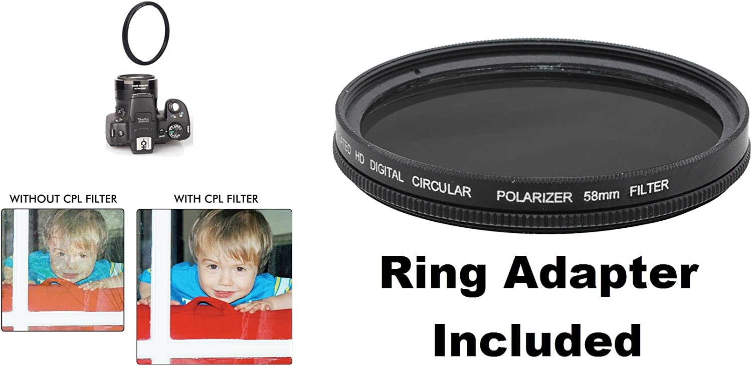 C-PL For Canon PowerShot SX60 HS Circular Polarizer Includes Filter Adapter 58mm Multicoated Multithreaded Glass Filter