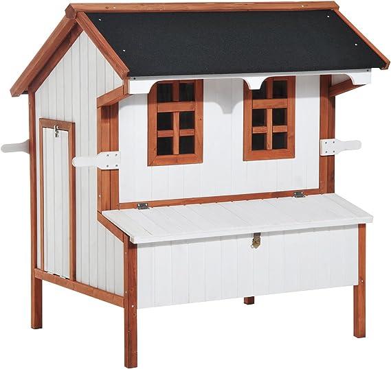 PawHut 72 - Gallinero, madera de abeto, con rampa de acceso, cajón para excrementos y ventanas de metacrilato, tejado de color negro: Amazon.es: Productos para mascotas