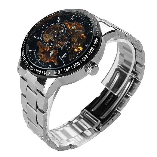 ibay wish gift IK-09 GZIE-09 - Reloj para hombres, correa de acero inoxidable color plateado: Amazon.es: Relojes