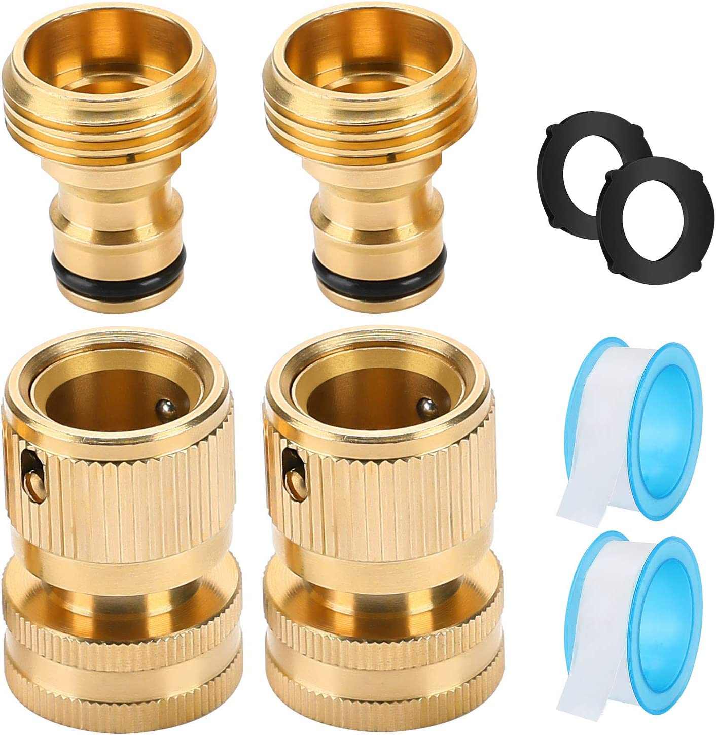 Garden Hose Quick Connect Premium- Hose Fittings With Quick Connect Faucet Adapter, Water Hose Adapter Connector 3/4 Inch Male And Female Disconnect Set Solid Brass Leakproof Easy Connect 2Sets Dcosok