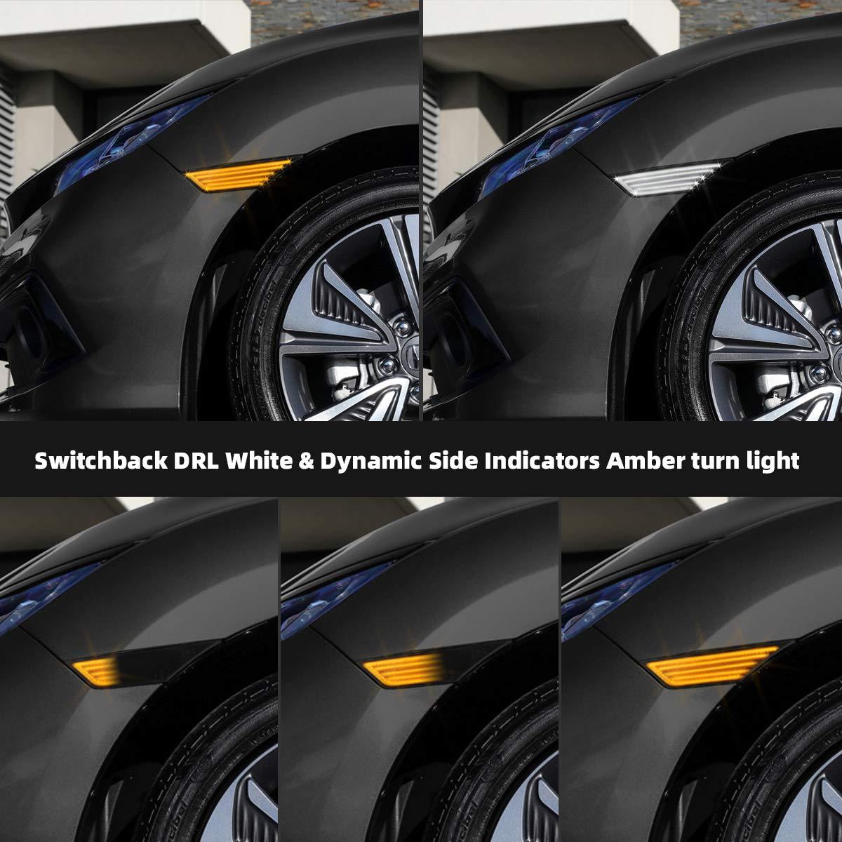 OZ-LAMPE Switchback DRL Indicadores laterales blancos y din/ámicos Luz intermitente /ámbar Luz de marcador lateral que fluye 138# 4014 SMD LED Humo Compatible con Hond-a 10th Generation Civic 2016-2019