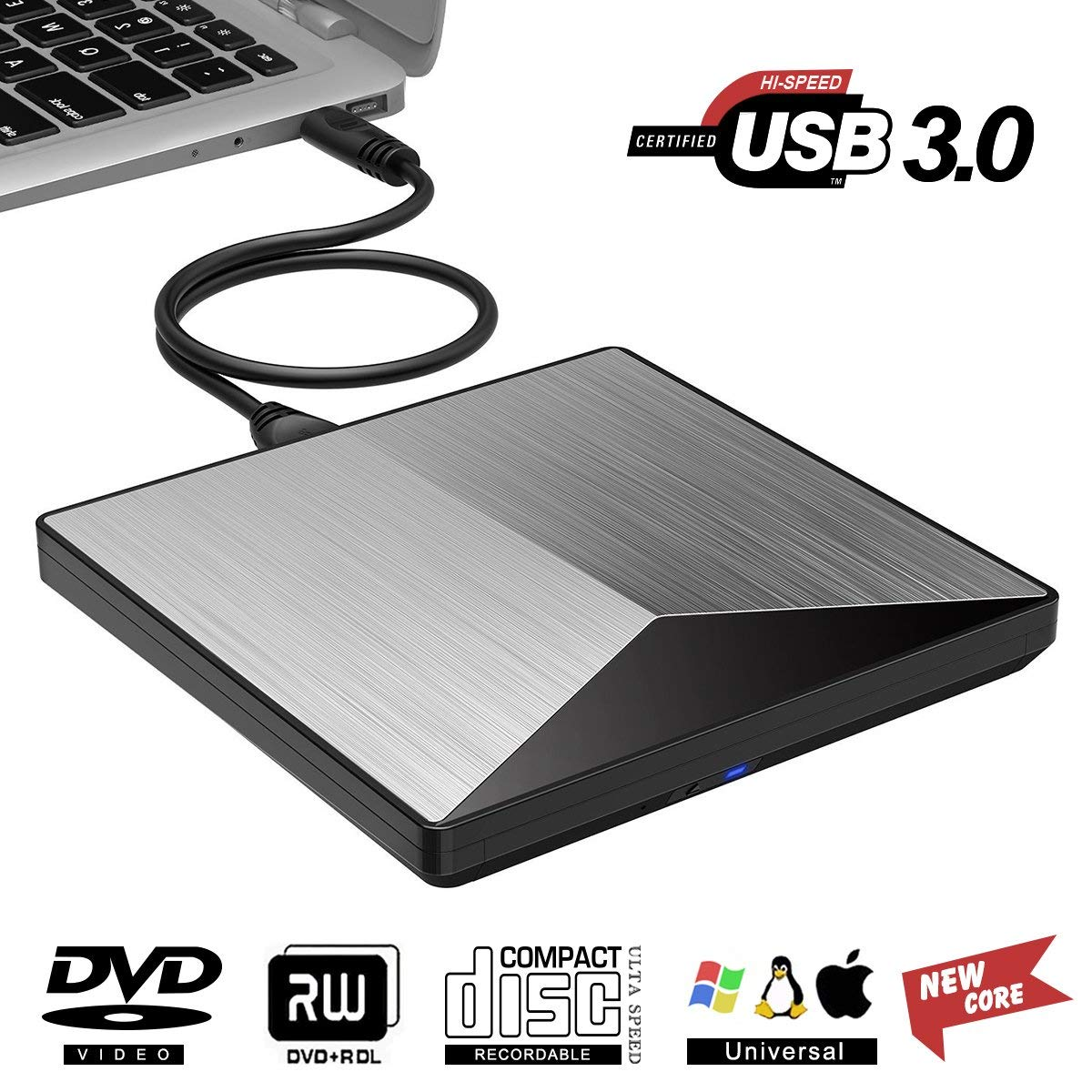 Snorain External CD/DVD Drive,USB 3.0 DVD +/-RW Superdrive CD Burner with High Speed Data Transfer Compatible for MacBook Laptop Desktop PC Windows10 /8/7 /XP Linux Mac OS (Silver) by Snorain (Image #1)