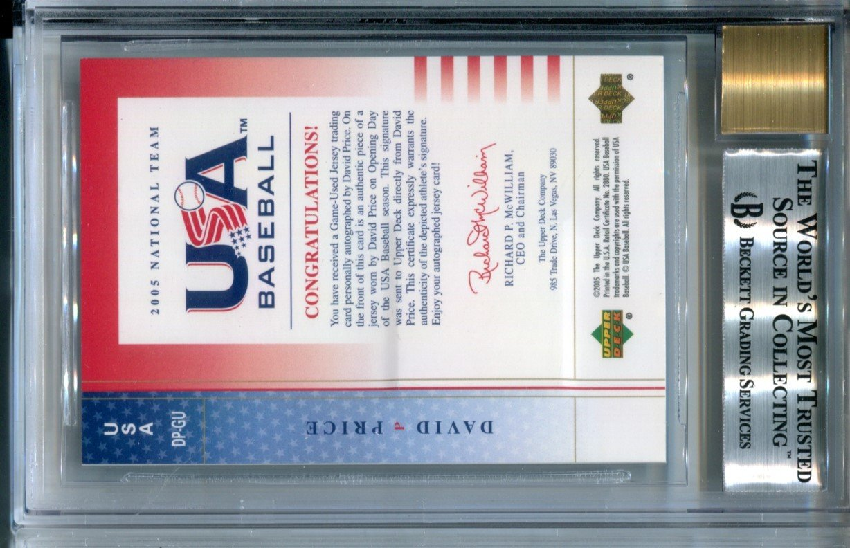 2005 David Price USA RC Auto Baseball Card #USA DP-GU Jersey #/350 BGS Mint 9 Autograph 10 Boston Red Sox at Amazons Sports Collectibles Store