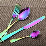 LEKOCH 4-Piece Colorful Rainbow Stainless Steel Flatware Cutlery Set Including Fork Spoons Knife Silverware Set