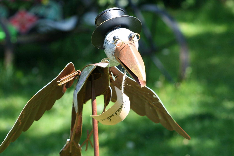 125cm Amicaso Windspiel Flying Professor Storch mit Zylinder /& Brille Gartendeko Metalldeko H/öhe ca