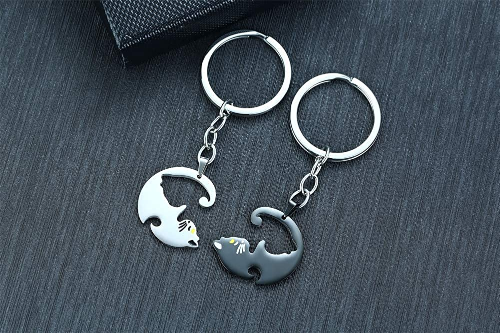 XUANPAI Stainless Steel Matching Puzzle Dog Tag Necklace/&His and Hers Yin Yang Distance Beads Bracelet