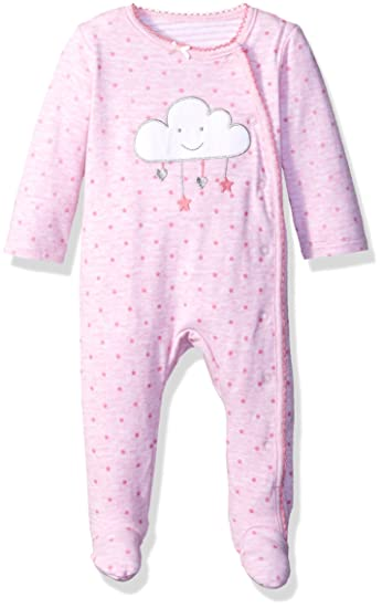 ac85122b119 Sterling Baby by Vitamins Baby Girls' Snap Front Footed Coverall,  Cloud/Stars,