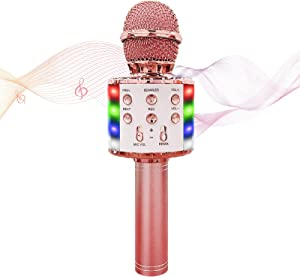 Karaoke Microphone, Wireless Bluetooth Microphone with LED Lights, 5 in 1 Portable Handheld Microphone for Kids, Home Party, KTV Party, Birthday Gifts(Rose Gold)
