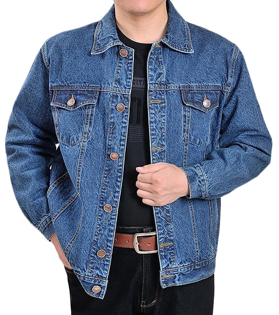 Fulok Mens Classic Rugged Motorcycle Trucker Denim Jean Jacket Coat Denim Blue X-Large