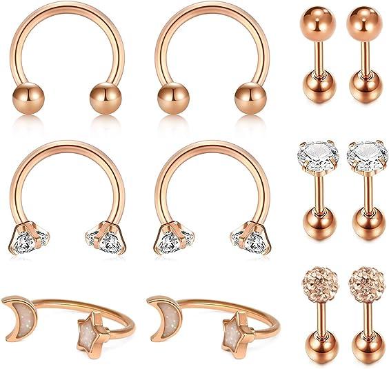 Nose Stud 1Pc 8Mm Open Hoop Earring Cartilage Rook Earring Septum Ring,Rose Gold,D