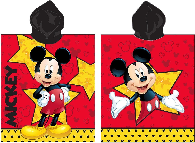 Jerry Fabrics Toalla de Poncho con Capucha para Niños, Diseño Mickey and Friends, Algodón, Multicolor, 60x60x1 cm