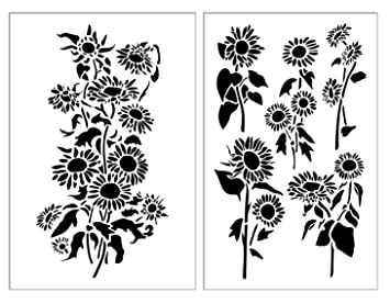 "Sunflower Airbrush Plantillas de pintura para pared de flores de 10 ml Mylar 14"" –"