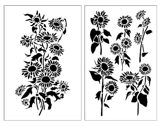 Sunflower Airbrush Plantillas de pintura para pared de flores de ...
