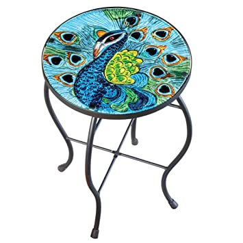 Peacock Glass Hand Painted Round Indoor Outdoor Patio Accent Table