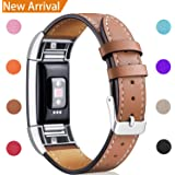 Hotodeal For Fitbit Charge 2 Replacement Bands, Classic Genuine Leather Wristband with Metal Connectors, Fitness Strap for Women Men Small Large