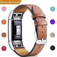 Hotodeal Bracelet Compatible Fitbit Charge 2 en Cuir Sport Femme Homme,Bande de Rechange Ajustable connecteurs en métal Accessoires