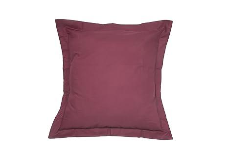 ES-TELA - Funda de cojín COMBI LISOS color Vino - Medidas 40x40 cm. - 50% Algodón-50% Poliéster - 144 Hilos