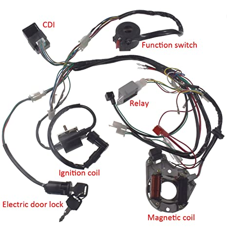 amazon com: jrl wire harness assembly wiring kit for 50cc 70cc 90cc 110cc  125cc atv electric quad: automotive