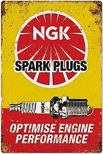 Original Vintage Design Spark Plugs Tin Metal Wall Decoration Signs, Thick Tinplate Print Poster Wall Art for Man Cave/Garage