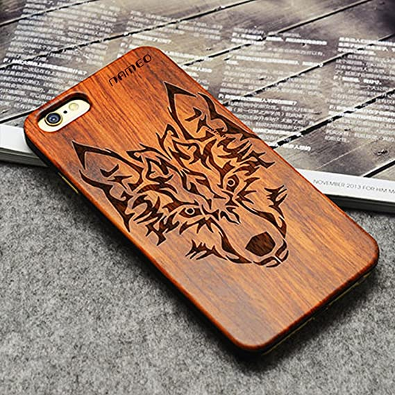 the latest 31d6a 95a8d NAMEO iPhone 6S Plus Wood Case, Natural Carved Wooden Hard Case Cover for  Apple iPhone 6/6S Plus 5.5