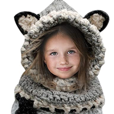 64c2252fb104 Hosaire 1X Hiver Bonnet Écharpe en Laine Tricoté en Forme Renard pour Enfant  Fille-