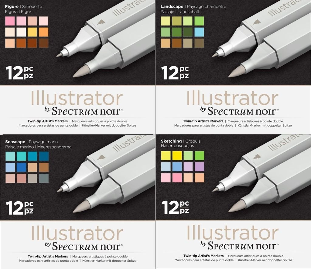 Spectrum Noir Illustrator Twin End Artist Craft Pen Set - All 4 Packs by Spectrum Noir